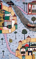 Two cities of the Ottoman Empire during Suleiman the Magnificent´s sultanate, Below: Bursa, Miniature from a manuscript, Turkey 16th Century.
