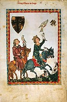 Conrad of Swabia hunting with a falcon, miniature from the Codex Manesse, manuscript folio 7 recto, 1304, Germany.  Heidelberg, Universitatsbibliothek...