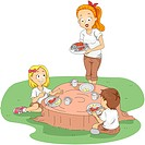 Illustration of Kids Eating Outside_ eps8
