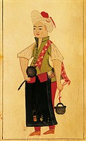 Tea seller, miniature from Foggie: Different styles of dress of the Turks, manuscript, Turkey 17th Century.  Venice, Biblioteca Nazionale Marciana (Na...