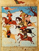 Fighting between Mongol knights armed with bows and sabres, from a Persian manuscript.  Paris, Bibliothèque Nationale De France (Library)