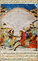 Battle between knights, miniature from a Persian manuscript, manuscript 206 folio 67.  Paris, Bibliothèque Nationale De France (Library)