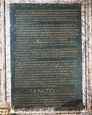Paleography, Roman Civilization. Lex De Imperio Vespasiani. Bronze tablet (69-70 A.D.) with the text of the grant of powers made to Emperor Vespasian ...