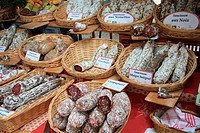 Traditional french sausages on a local market in Bedoin, France