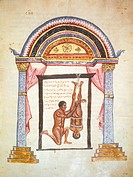 Miniature of the Surgical writings of the doctor Niceta, Greek manuscript, 10th-11th Century. Florence, Biblioteca Medicea Laurenziana (Laurenziana Li...