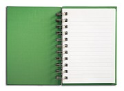 Green Notebook vertical single white page