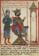 Alexander the Great on the throne, miniature from the The History of Alexander the Great by Pseudo-Callisthenes, Parchment Codex by the scribe Nerses,...