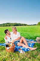 Picnic _ Romantic happy couple in meadows nature sunny day