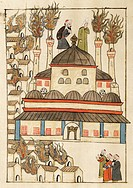The fire at Hagia Sophia, miniature from Turkish Memories, Arabic manuscript, Cicogna Codex, Turkey 17th Century.  Venice, Museo Correr (Art Museum)