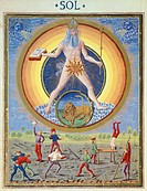 The sun and different physical and sporting endeavours, miniature from De Sphaera by Leonardo Dati, Latin Manuscript folio 209 verso 8, 1470, Italy.  ...