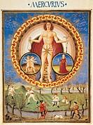 The Planet Mercury and work in the field, miniature from De Sphaera by Leonardo Dati, Latin Manuscript folio 209 verso 10, 1470, Italy.  Modena, Bibli...