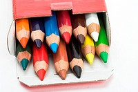 color pencils in the box, close up