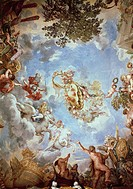 Frescoes on the ceiling in the Hall of Mars, by Pietro da Cortona (1596-1669). Palatine Gallery, Palazzo Pitti, Florence.  Florence, Palazzo Pitti (Pi...