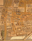 Cartography, Italy, 18th century. Perspective map of Venice dockyard by Gian Maria Maffioletti, 1798, engraving. Detail.  Venice, Palazzo Ducale (Doge...