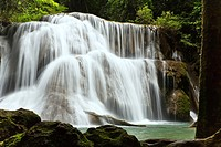 One of the beautiful waterfalls in Kanchanaburi Province is named. Huai Mae Kamin.