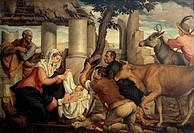 The Adoration of the Shepherds, by Jacopo Bassano (ca 1510-1592).  Venice, Accademia (Picture Gallery)