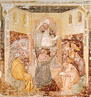 The abdication, detail from the Stories of St Ursula, by Tommaso da Modena (1326-1379), fresco. Treviso, Church of S. Caterina.
