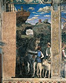 Horse, mastiffs and grooms of Count Ludovico Gonzaga, detail from the Meeting Wall, 1465-1474, by Andrea Mantegna (1431-1606), fresco. San Giorgio Cas...
