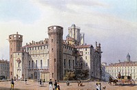 The Italian Senate (Palazzo Madama) in Turin, Italy 18th Century. Colour print.  Turin, Museo Nazionale Del Risorgimento (History Museum)