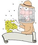 Cartoon illustration of a Bee keeper behind a scroll