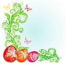 Easter background with eggs decorated with golden ornaments and green plants