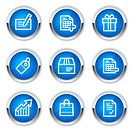 Shopping web icons set 1, blue buttons