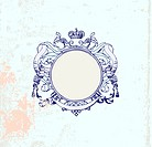 round frame with floral ornament and crown. Grunge background. Blank so you can add your own images.