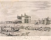 Villa Giovanelli at Noventa Padua, by Gianfranco Costa (1711-1772), from The Delights of the River Brenta, 1750-1762, Italy 18th Century. Engraving.  ...