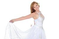Blonde smiling bride. Isolated on white background
