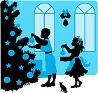 vector illustration silhouette of kids near a Christmas tree with gifts