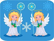 Christmas cute angels catholic, orthodox set with snowflakes