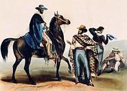 Ranchers, Mexico 19th century. Lithograph.  Mexico City, Biblioteca Nacional De Antropología E Historia (Library)