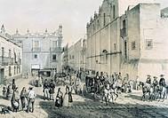 Guardiola Square and Basilica de San Francisco Church in Mexico City, Mexico 19th century.  Mexico City, Biblioteca Nacional De Antropología E Histori...