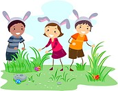 Illustration of Kids on an Easter Egg Hunt _ eps8