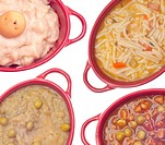 Cream of Potato Soup, Beef Vegetable Soup, Classic Chicken Noodle Soup, and Split Pea Soup Background.
