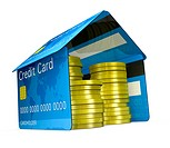 one house made with credit cards, with stacks of coins 3d render