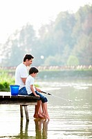 Father and son fishing on the lake
