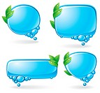 Set of speech bubbles formed from water and decorated with green leaves