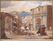 Achille Pinelli (1809-1841). Rome. Perspective of The Church of San Giacomo, 1833.  Roma, Museo Di Roma Gabinetto Comunale Delle Stampe