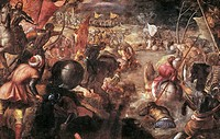 Francesco II Gonzaga at the Battle of Fornovo or Taro in 1495, by Jacopo Robusti known as Tintoretto (1518-1594), oil on canvas, 269x421 cm.  Monaco, ...
