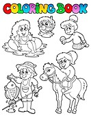 Coloring book with kids activities _ thematic illustration.