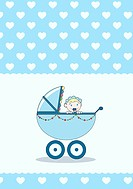 A baby girl in a stroller, baby annoucement card