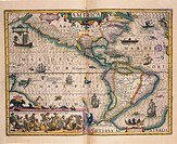 Cartography, 16th century. Map of America by Gerardo Mercatore (1512-1594).  Madrid, Biblioteca Nacional (Library)