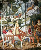 The cavalcade of the Magi, 1459, by Benozzo Gozzoli (1420-about 1497), fresco. Detail depicting the parade from the east wall showing Lorenzo the Magn...
