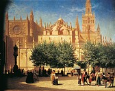 Achille Zo (1826-1901). Seville, view of the Cathedral with the Giralda Tower.  Bayonne, Musée Bonnat (Picture Gallery)