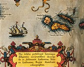 Cartography, 16th century. Map of Azores Islands. From Theatrum Orbis Terrarum by Abraham Ortelius (1528-1598),  Lisbon, Academia Das Ciencias (Scienc...