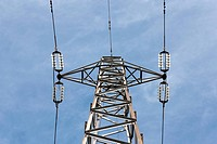Bellow perspective of a High Voltage Pole under a nice blue sky