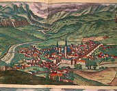 Cartography, 16th century. The City of Bressanone. From Civitates Orbis Terrarum by Georg Braun (1541-1622) and Franz Hogenberg (1540-1590), Cologne. ...