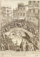 The battle between residents of Castellana and Nicolotta for the conquest of a bridge in Venice, 1610, by Giacomo Franco 1556_1620, engraving from Cos...