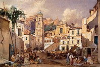 Amalfi Cathedral, 1866, by Giacinto Gigante (1806-1876), Italy 19th Century.  Naples, Museo Nazionale Di Capodimonte (Art Gallery)